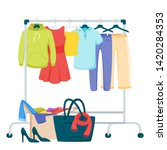 clothes and accessories hanging ... | Shutterstock .eps vector #1420284353