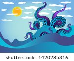 octopus tentacle in sea waves.... | Shutterstock .eps vector #1420285316