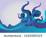 octopus tentacle in sea waves.... | Shutterstock .eps vector #1420285319
