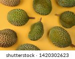 durian  on bright yellow... | Shutterstock . vector #1420302623