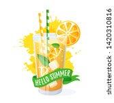 hello summer  orange cocktail... | Shutterstock .eps vector #1420310816