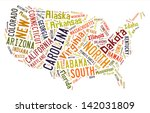 usa puzzle of words by states... | Shutterstock . vector #142031809