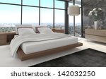 Stock photo  d rendering of modern bedroom with floor to ceiling windows and landscape view 142032250
