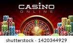 illustration Online Poker casino banner with realistic american roulette red surface table. Marketing Luxury red Banner Jackpot Online Casino with 3d classic roulette. Advertising poster poker chips - stock vector