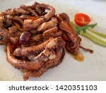 octopus grill with onion ... | Shutterstock . vector #1420351103