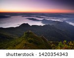 beautiful sunrise and mist at... | Shutterstock . vector #1420354343
