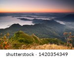 beautiful sunrise and mist at... | Shutterstock . vector #1420354349