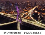 Estaiada\'s Bridge Night View. ...