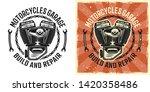 motorcycle engine vector emblem ... | Shutterstock .eps vector #1420358486