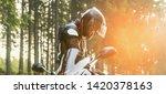 motorcycle rider prepares for... | Shutterstock . vector #1420378163