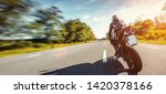 motorbike on the forest road... | Shutterstock . vector #1420378166