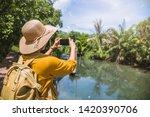 asian woman travel nature.... | Shutterstock . vector #1420390706