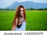 asian women travel relax in the ... | Shutterstock . vector #1420393379