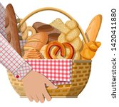 bread icons and wicker basket... | Shutterstock .eps vector #1420411880