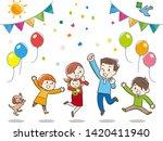happy young family. vector... | Shutterstock .eps vector #1420411940
