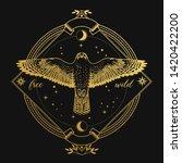 Flying Falcon In Ornate Frame...