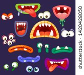 set of monsters mouths and eyes