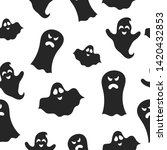 Halloween Cute Ghost Seamless...