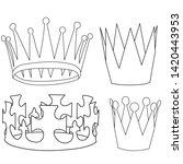 white background  set  crown...   Shutterstock .eps vector #1420443953