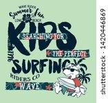 cute cartoon dog surfer wave... | Shutterstock .eps vector #1420446869