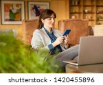 woman working on a laptop on a... | Shutterstock . vector #1420455896