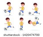 set boy soccer player plays... | Shutterstock .eps vector #1420474700
