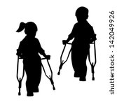 silhouettes of disabled people  ...   Shutterstock .eps vector #142049926