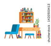 living room with sofa and desk...   Shutterstock .eps vector #1420503413