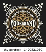 vintage logo with floral details   Shutterstock .eps vector #1420521050