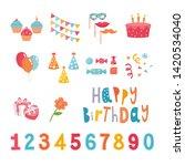 big set of birthday party... | Shutterstock .eps vector #1420534040