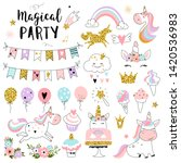 unicorn magic party elements... | Shutterstock .eps vector #1420536983