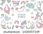 cute magical unicorn  cat  ... | Shutterstock .eps vector #1420557149