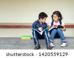 the group of children read the... | Shutterstock . vector #1420559129