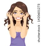 angry stressed woman with semi... | Shutterstock .eps vector #1420601273