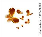 beautiful yellow butterflies ... | Shutterstock .eps vector #1420608509