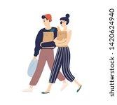 adorable modern young couple... | Shutterstock .eps vector #1420624940