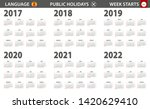 2017 2022 year calendar in... | Shutterstock .eps vector #1420629410