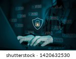 hacker attack laptop computer... | Shutterstock . vector #1420632530