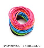 colorful hair bands on white... | Shutterstock . vector #1420633373