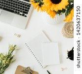 flatlay of home office desk... | Shutterstock . vector #1420637150