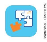 puzzle pieces line color icon....