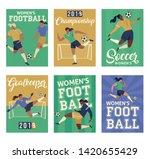 women's football soccer players ... | Shutterstock .eps vector #1420655429