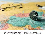 magnetic compass and pen on the ... | Shutterstock . vector #1420659839
