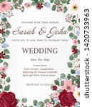 wedding invitation with rose... | Shutterstock .eps vector #1420733963