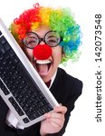 funny clown with keyboard on... | Shutterstock . vector #142073548