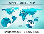abstract simple world map  ... | Shutterstock .eps vector #142074238