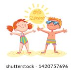 postcard hello summer. boy and... | Shutterstock .eps vector #1420757696