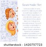 schoolchild are holding banner... | Shutterstock .eps vector #1420757723