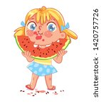 girl is eating a big slice of... | Shutterstock .eps vector #1420757726
