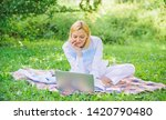 woman with laptop or notebook... | Shutterstock . vector #1420790480